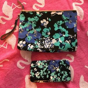 Merona floral wristlet with matching wallet